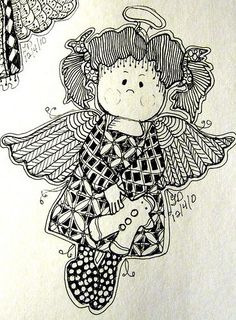 Zentangle Christmas Angel | angel 2 | Patterns, templates, doodle, Zentangle,Fonts & coloring ...