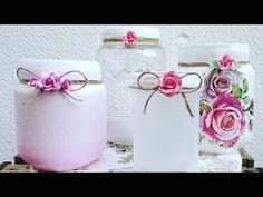 4 romantic decorated glass jars (eng sub) Mason Jar Crafts, Mason Jars, Glass Jars, Stencils, Diy Projects, Romantic, Bottle, Ideas, Jar Crafts