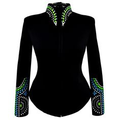 Green and blue elements create a bold symmetrical pattern on both the cuff and collar of this jacket. Tailored black show jacket features green pearlescent and African Lace Dresses, Latest African Fashion Dresses, African Dresses For Women, African Print Fashion, African Wear, African Attire, Western Show Shirts, Western Show Clothes, Bühnen Design