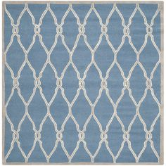 Safavieh Handmade Moroccan Cambridge Navy (Blue)/ Ivory Wool Rug (6' Square) (CAM352M-6SQ), Size 6' x 6'