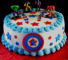 simple avengers crafts | Easy Avengers cake for my son's birthday.