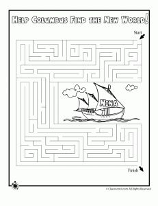 columbus day maze 1 231x300 Columbus Day Printable Mazes