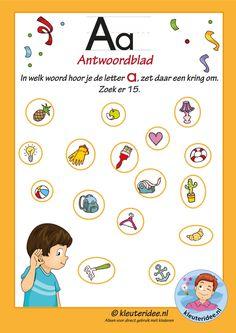 Pakket over de letter a blad 8, antwoorden in welk woord hoor je een a, letters aanbieden aan kleuters, kleuteridee.nl, free printable.