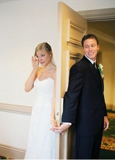 Cute idea -- take pic where bride and groom can't see each other before wedding :)