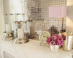 I'm a big fan of mosaic mirror tiles and use them a lot, especially on cupboard backs . evtl im Esszimmer-Bar-Bereich Feminine Bathroom, Mauve Bathroom, Casa Clean, Romantic Room, Mirror Tiles, Glass Tiles, Mosaic Mirrors, Interior Decorating, Interior Design