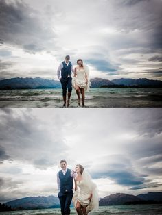 Yes it is disappointing not to be able to head into the mountains on your wedding day due to high winds, but the upside is the amazing sky and lets face it the lake in Wanaka is a rather lovely second option. The gorgeous Erin & Dan in Lake Wanaka :) Lake Wanaka, On Your Wedding Day, Sky, Mountains, Couple Photos, Heaven, Couple Shots, Heavens, Couple Pics