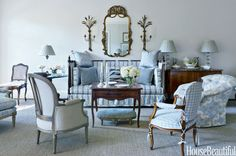 Judy Bentley decorated Dan Carithers' new town house. Fabrics: Hodsoll McKenzie and Clairmont. The paint is Benjamin Moore's Winds Breath. Off White Paint Colors, Off White Paints, Interior Exterior, Interior Design, Cream Living Rooms, Long Room, Blue And White Fabric, Atlanta Homes, French Decor