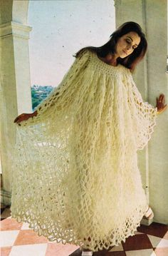 Youll be on cloud 9 with this dreamy, heavenly 70s fashion for a crocheted lacy caftan! The caftan has a generously full tent silhouette, with flared skirt gathered to yokes (front and back), and long wide sleeves gathered to shoulders. Sexy and sensational! Size Medium Bust 34-36 in This pattern is in PDF format, and is instantly downloadable upon purchase. This pattern features Villawool yarn from Australia via Austral Enterprises, who set up shop in Seattle back in the 1970s offering ...