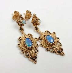 Opal Earrings Antique Art Nouveau 14 K Gold by Topcatvintage, $745.00