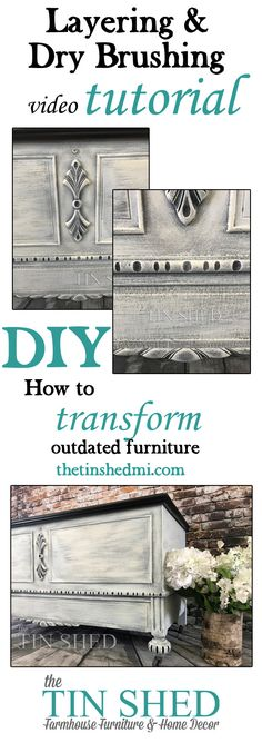 Painted furniture makeover - inspiration, tutorial, how to. Dry brushing and layering paint on a vintage cedar chest.
