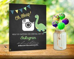 Chalkboard Dinosaur Baby Shower Social Media Sign Custom Hashtag (Blue, Yellow, Green) DIGITAL FILE by JupiterAndMarsPrints on Etsy https://www.etsy.com/listing/246109911/chalkboard-dinosaur-baby-shower-social