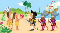 Los Indios Nativos le están dando su productos a Cristóbal Colón.