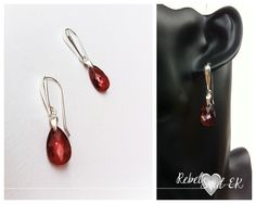 RebelSoulEK jewelry sterling silver earrings and Swarovski crytals red orange shiny elegant