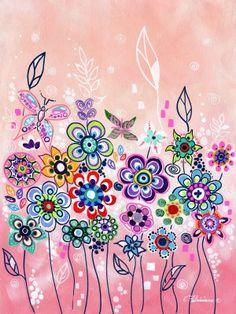Bildresultat för pink doodle flowers