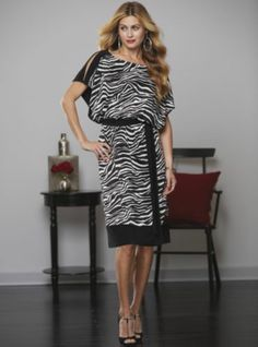 Zebra Print Slit Sleeve Dress   from Midnight Velvet.   An energetic black and white zebra print dress gains extra pop from the solid black belt and bands at the shoulders and hem.