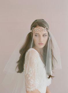 Bridal crystal headband Triple crystal loops headband by myrakim