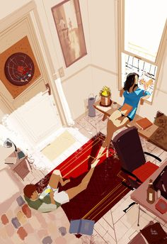 Saturday Late morning #Pascal_Campion (art, couple, family, people, home)