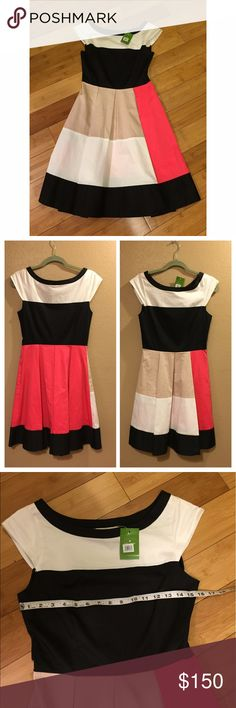 NWT Kate Spade Color Block Dress - 6 New with tags! Kate Spade Color Block Adette Dress. Size 6. Measurements shown. Gorgeous and timeless piece! kate spade Dresses