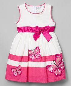 Fuchsia Butterfly A-Line Dress - Toddler & Girls