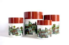Tin Neighborhood Canister Set // Made in Japan by RankandFileVintage