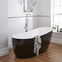 Freistehende Design Badewanne Schwarz Oval, mit 4mm Dicke