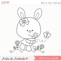50% OFF Little Bunny's Stamp - personal and commercial use - flwer and butterfly line art, colorful garden graphic, digital clip art - S031