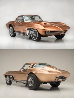 """1963 """"Asteroid"""" Corvette: Customized by George Barris for boat racer Bob Nordskog with a shimmering copper paint job and one-off interior."""