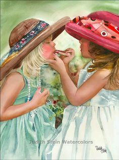 Girl Friends, Sisters Play Dress Up, Make Up, Lipstick, White Dress, Big Hats…