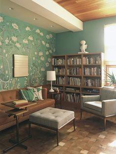 Maisonette: Jolie Goodnight's Blog: {Vermont Resdience) #livingroom #green #MadMen