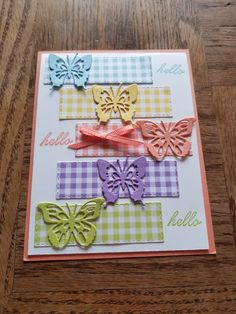 Beauty Abounds, Butterfly Beauty Thinlits and Gingham Gala Designer Series 3 - Kaarten Maken Handmade Birthday Cards, Greeting Cards Handmade, Butterfly Cards Handmade, Paper Cards, Folded Cards, Stamping Up Cards, Creative Cards, Cute Cards, Scrapbook Cards