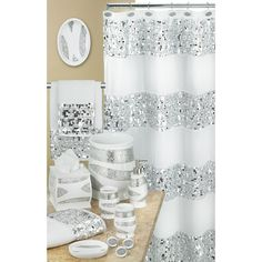 Popular Bath 838909 Sinatra Shower Curtain, White – Home & Living – Home Improvement Ideas and Inspiration Bling Bathroom, Silver Bathroom, Modern Bathroom, Bathroom Ideas, Bathroom Renovations, Glamorous Bathroom, Bathroom Makeovers, Simple Bathroom, Glitter Bathroom