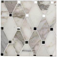 Kelli Ellis Alexa Marble and Mirror Marble and Glass Tile - Mosaic Tiles Mosaic Glass, Mosaic Tiles, Glass Tiles, Fused Glass, Calacatta Tile, Carrara Marble, Marble Tiles, Mirror Tiles, Mirror Glass