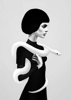 Černobílý grafický plakát s profilem dívky s hadem od umělce Rubena Irelanda
