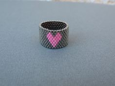 Heart Ring Pink heart ring Peyote stitch Heart by EsBello on Etsy, $15.95