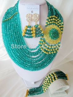 Hot Sale Nigerian Wedding Jewelry Set African Teal Green Crystal Beads Costume Jewelry Set Free Shipping CPS-3389 $58.69