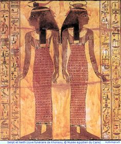 Selkit and Neith, protective goddess of coffins and canopic jars *****neith has my figure. And she is to be placed below my left armpit. neith is also a war god.