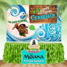 Maui Backdrop - Maui Printable Backdrop - Maui Decorations - Sweet Table Decoration - Maui Birthday Party - Moana Photobooth - Maui Moana de LythiumArt en Etsy