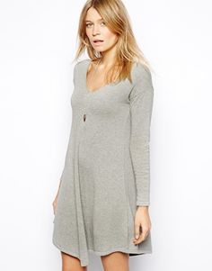Image 1 of ASOS Knitted Swing Dress With V-Neck