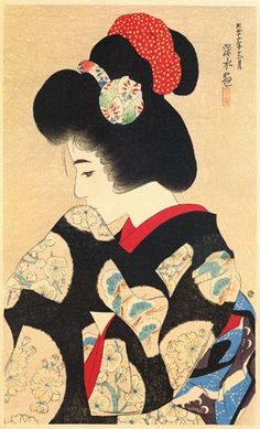 Early Spring Contemplation  by Ito Shinsui, 1923  (published by Watanabe Shozaburo)