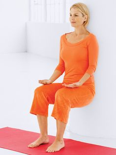 How to Lose 2 Inches in 2 Weeks-Invisible Chair Strengthens: Legs Stand near a wall with your feet hip-width apart. Slowly lower your body as if you were sitting down in an invisible chair. Lean your back against the wall. Your hands should be lightly resting on your knees. Hold the position for as long as you can (which might be only 10 seconds at first; work up to 60).