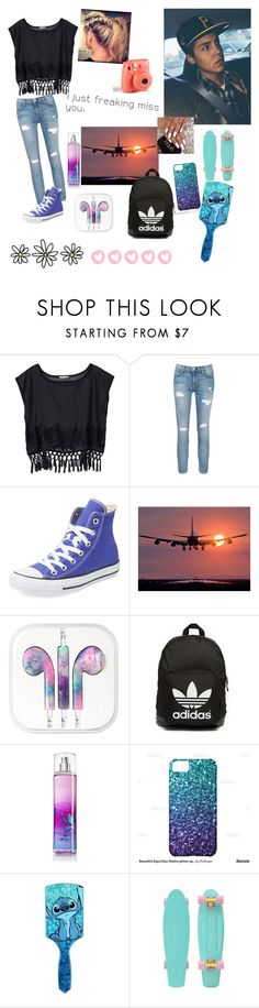 """""""waiting all night for Matt to get home from tour❤"""" by espinosa-dolans ❤ liked on Polyvore featuring Victoria's Secret, Current/Elliott, DUBARRY, Converse, adidas Originals and Disney"""