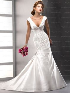 Trumpet/Mermaid Off-the-shoulder Satin Chapel Train Ivory Beading Wedding Dresses at Millybridal.com