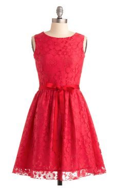 red lace dress with red ribbon