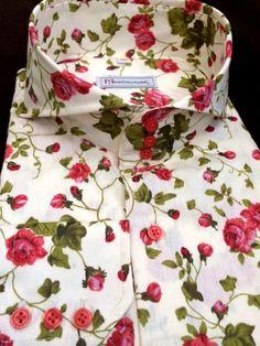 MorCouture Floral Cutaway Collar Shirt