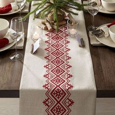 Crate & Barrel Nordic Embroidered Table Runner (¥7,065) ❤ liked on Polyvore featuring home, kitchen & dining, table linens, embroidered runner, striped runner, red table runner, embroidered table linens and striped table runner