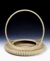 Low Basket with Handle by Mary A. Jackson: Made of sweetgrass, pine needles and palmetto. #basketry #Smithsonian