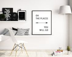 Oh the Places you will go,Dr Seuss Quote, Motivational Quote Print,Inspirational Quote Art, Nursery Wall Art,Instant Download,Nursery Quotes - Edit Listing - Etsy