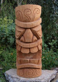 "Tiki Totem Coconut Wood Statue Carving Patio Tropical Bar Decor 20"" model # 2"