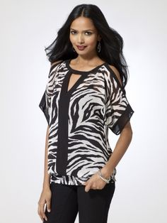 Open shoulder zebra print top with keyhole front. Elastic smocked waist. (Cami worn underneath sold separately)100% polyesterImportMachine wash