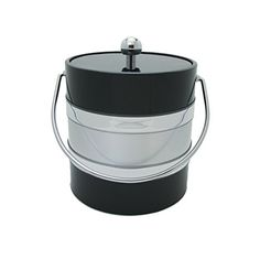 Black  Silver Two Tone 3 Quart Ice Bucket * Click image for more details. (This is an affiliate link)